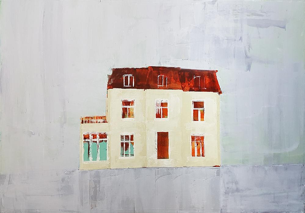 Huis II, 2017, 1705-04, Acrylverf op papier, 96,5 x 67 cm